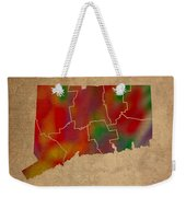 Counties Of Connecticut Colorful Vibrant Watercolor State Map On Old Canvas Weekender Tote Bag