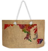 Counties Of Maryland Colorful Vibrant Watercolor State Map On Old Canvas Weekender Tote Bag