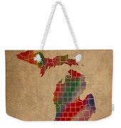 Counties Of Michigan Colorful Vibrant Watercolor State Map On Old Canvas Weekender Tote Bag