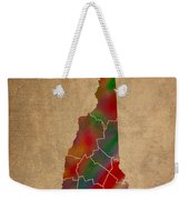 Counties Of New Hampshire Colorful Vibrant Watercolor State Map On Old Canvas Weekender Tote Bag