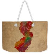 Counties Of New Jersey Colorful Vibrant Watercolor State Map On Old Canvas Weekender Tote Bag