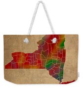 Counties Of New York Colorful Vibrant Watercolor State Map On Old Canvas Weekender Tote Bag
