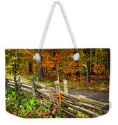 Country Road In Autumn Forest Weekender Tote Bag