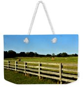 Country Scene With Field And Hay Bales Weekender Tote Bag