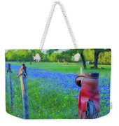 Country Western Blue Bonnets Weekender Tote Bag