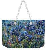 Countryside Irises Oil Painting With Palette Knife Weekender Tote Bag