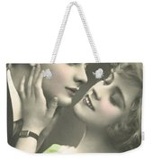 Couple About To Kiss In Front Of Christmas Tree Weekender Tote Bag