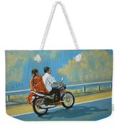Couple Ride On Bike Weekender Tote Bag