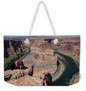 Couple Viewing Horseshoe Bend High Up Edge  Weekender Tote Bag