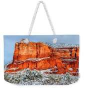Courthouse Butte And Bell Rock Under Snow Weekender Tote Bag