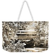 Covered Bridge At Lanterman's Mill Black And White Weekender Tote Bag