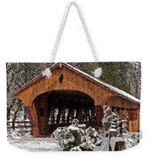 Covered Bridge At Olmsted Falls-winter-2 Weekender Tote Bag