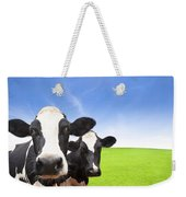 Cow On Green Grass Field Weekender Tote Bag