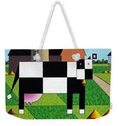 Cow Squared With Barn Left Weekender Tote Bag