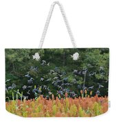 Cowbirds In Flight Over Milo Fields In Shiloh National Military Park Weekender Tote Bag