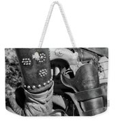 Cowboy And Six Shooter Bw Weekender Tote Bag