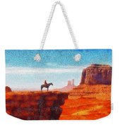 Cowboy At Monument Valley In Utah - Da Weekender Tote Bag