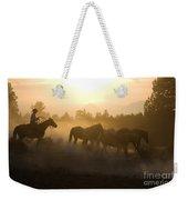 Cowboy Chasing Horses Weekender Tote Bag