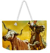 Cowboy Lassoing Cattle  Weekender Tote Bag by Angus McBride