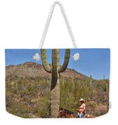 Cowgirl And The Crested Saguaro Weekender Tote Bag