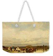 Cows Crossing A Ford 1836 Weekender Tote Bag