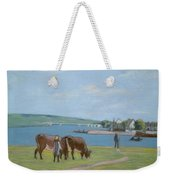 Cows On The Banks Of The Seine At Saint Mammes Weekender Tote Bag