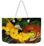 Cows Yellow Red Green 1912 Weekender Tote Bag