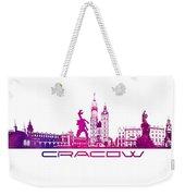 Cracow City Skyline Purple Weekender Tote Bag