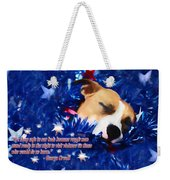 Cradled By A Blanket Of Stars And Stripes - Quote Weekender Tote Bag