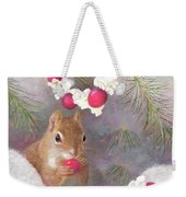 Cranberry Garlands Christmas Squirrel Weekender Tote Bag