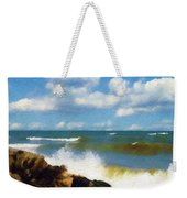 Crashing Into Shore Weekender Tote Bag