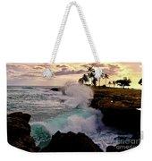 Crashing Waves At Sunset Weekender Tote Bag