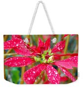 Crazy Dewy Red Flower Weekender Tote Bag
