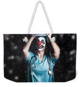 Crazy Doctor Clown Laughing In Rain Weekender Tote Bag