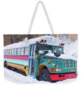 Crazy Painted Old School Bus In The Snow Weekender Tote Bag