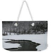 Creek In Snowy Landscape Weekender Tote Bag