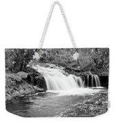 Creek Merge Waterfall In Black And White Weekender Tote Bag