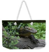 Creeping Komodo Monitor Climbing Under A Fallen Log Weekender Tote Bag