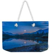 Crescent Moon Over Middle Lake In Bow Weekender Tote Bag