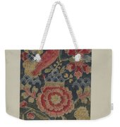 Crewel Embroidered Panel Weekender Tote Bag