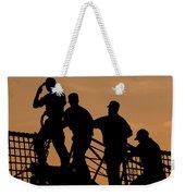 Crewmen Salute The American Flag Weekender Tote Bag by Stocktrek Images