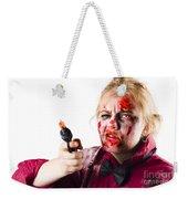 Criminal Zombie Pointing Revolver Weekender Tote Bag