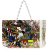 Cristiano Ronaldo Heads The Ball During The Spanish League Footb Weekender Tote Bag