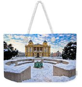 Croatian National Theater In Zagreb Winter View Weekender Tote Bag
