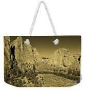 Crooked River At Smith Rock State Park Sepia Weekender Tote Bag