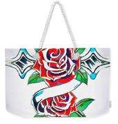 Cross And Roses Tattoo Weekender Tote Bag