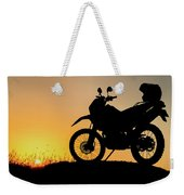 Cross-country Motorbike And Stony, Traveling In Tough Roads Weekender Tote Bag