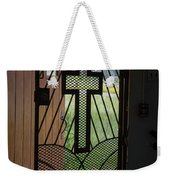 Cross On Church Door Open To Prison Yard Fence With Razor Wire Weekender Tote Bag