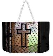 Cross On Church Door Open To Prison Yard Weekender Tote Bag