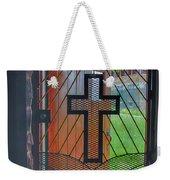 Cross On Church Door Open To Prison Yard With Light Weekender Tote Bag